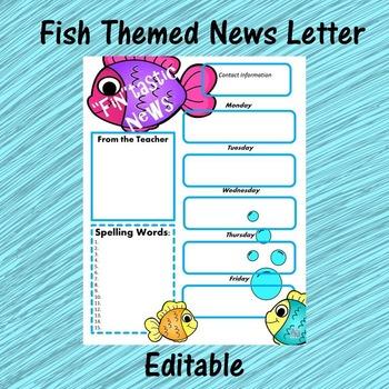 Ocean Theme News Letter - Editable