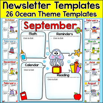 original-1982056-1 Ocean Themed Newsletter Template on microsoft word, free printable monthly, free office, classroom weekly, fun company,