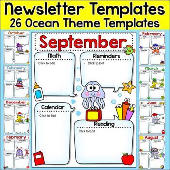 Newsletter Templates - Ocean Theme Classroom Decor