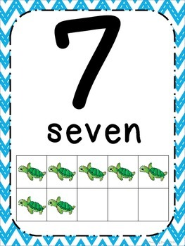 Ocean Theme Number Posters 0-20 - Large, Small & Flashcards