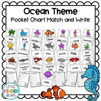 Ocean Theme Pocket Chart Picture and Word Cards