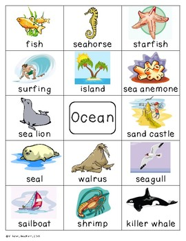 Ocean Theme Pocket Chart Word Cards