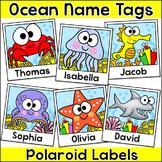 Ocean Theme Polaroid Student Name Tags - Editable Under the Sea Labels