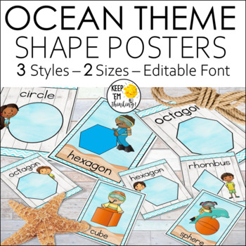 Ocean Theme Shape Posters
