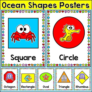 Shapes Posters - Ocean Theme Classroom Decor