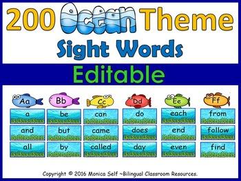 Ocean Theme Sight Words-EDITABLE!