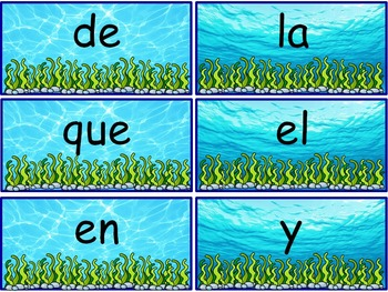 Ocean Theme Sight Words {Spanish Version} EDITABLE!