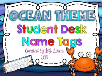Ocean Theme Student Desk Name Tags