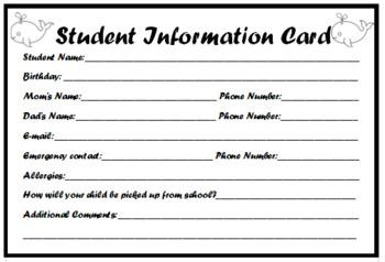 Ocean Theme Student Information