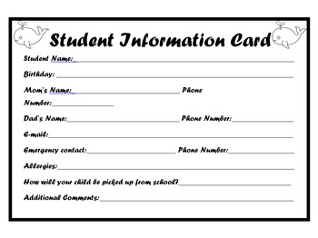 Ocean Theme Student Information Card