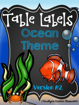 Ocean Theme Table Labels #2  (Baskets, Table Points, Containers)