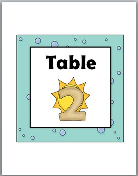 Ocean Theme Classroom Decor Table Numbers