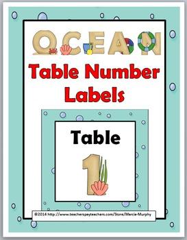 Ocean Theme Table Numbers