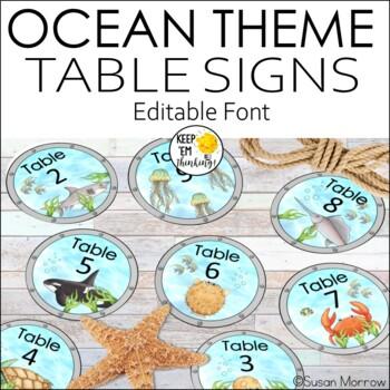 Ocean Theme Table Signs - Editable! - Ocean Theme Classroom Decor