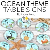 Ocean Theme Table Signs - Editable! - Ocean Theme Classroom Decor