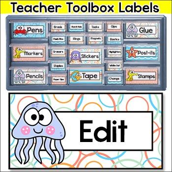 Ocean Theme Teacher Toolbox Labels - Under the Sea Theme