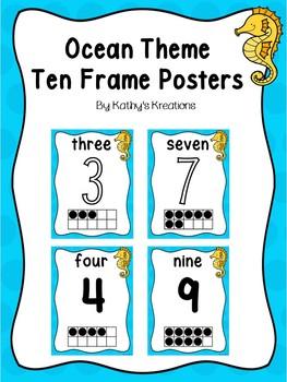 Ocean Theme Ten Frame Number Posters