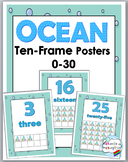 Ocean Theme Classroom Decor Ten Frame Number Posters 0-30