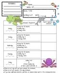 Ocean Theme Weekly Homework Log