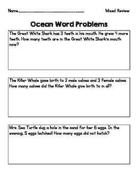 Ocean Theme Word Problems