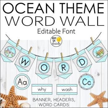 Ocean Theme Word Wall Banner and Labels - Editable ocean Theme Classroom Decor