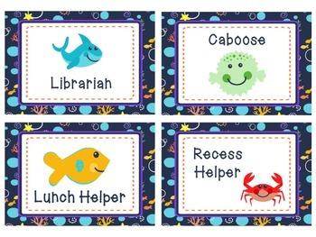 Ocean Theme classroom Jobs