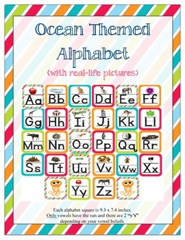 Ocean Themed ABC Printables (w/ real pictures)