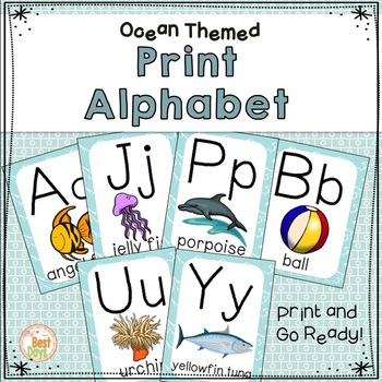 Ocean Themed Alphabet Posters:  Print Alphabet