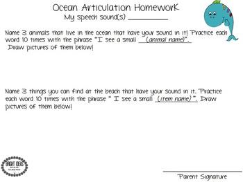 Ocean-Themed Articulation Homework