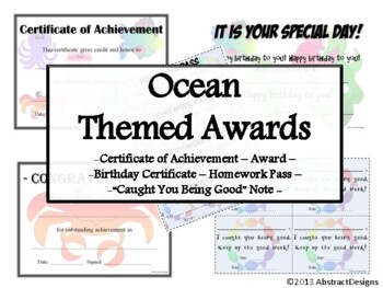 Ocean Themed Awards Set