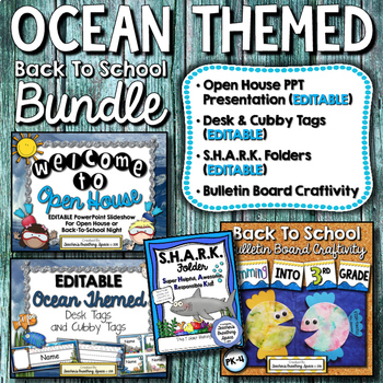 Ocean-Themed Back To School BUNDLE - Presentation, Desk Tags, Folder, Craftivity