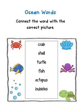 Ocean Themed Back to School Activity Pack for First Grade