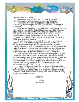 Ocean Themed Back to School Letter (Editable)