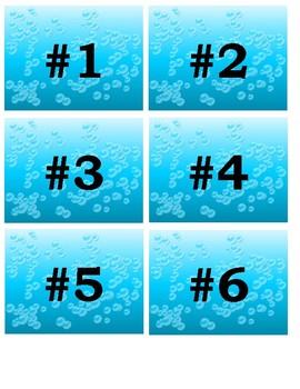 Ocean Themed Backpack Numbers 1-6
