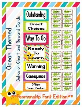 Ocean Themed Behavior Clip Chart and Reward Cards (Penmans