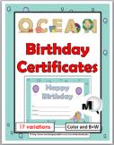 Birthday Certificates - Ocean Theme Classroom