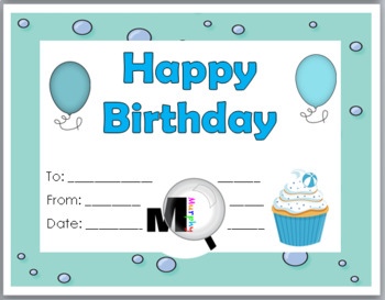 Birthday Certificates - Ocean Theme Classroom
