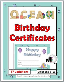 Birthday Certificates - Ocean Theme