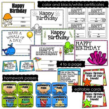 Ocean Beach Theme Birthday Set-  Editable