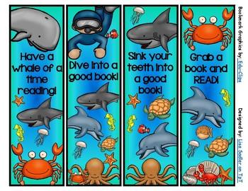 Ocean Themed Bookmarks (4 designs)