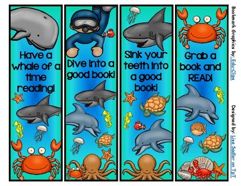 Ocean Themed Bookmarks (4 designs)
