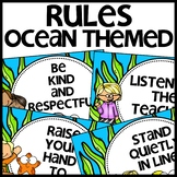 Ocean Themed CLASSROOM RULES Posters