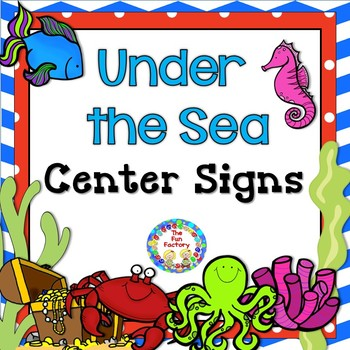 Center Signs and Center Management Chart Cards  Under the Sea Themed