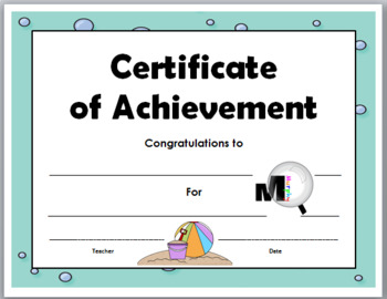 Certificates of Achievement - Ocean Theme Classroom - End of the Year Awards