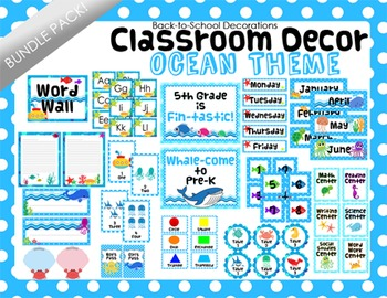 Ocean Themed Classroom Decor Bundle Pack