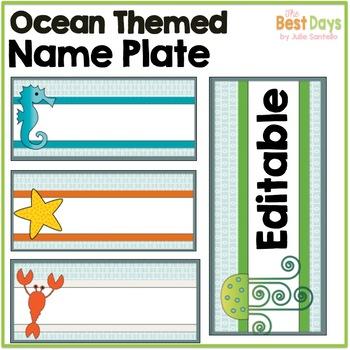 Ocean Themed Classroom Decor: Editable Name Plates