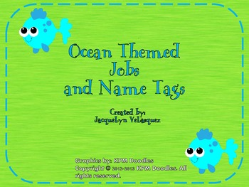 Ocean Themed Classroom Jobs and Name Tags