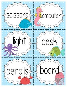 Ocean Themed Classroom Labels