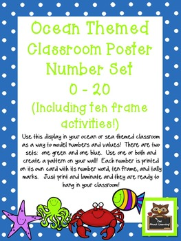 Ocean Themed Classroom Numbers Poster Set w/Ten Frames, Activities, & Flashcards
