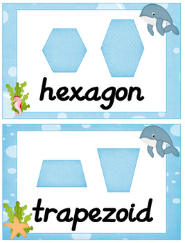 Ocean Themed Classroom Poster Bundle with D'Nealian Font